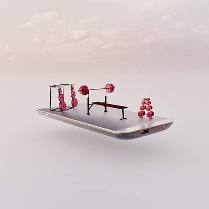 Figurine「Mobile phone miniature worlds: weight training room as a fitness smart app concept」:スマホ壁紙(13)
