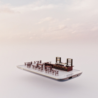 Drinking「Mobile phone miniature worlds: bar on a smart phone screen」:スマホ壁紙(19)