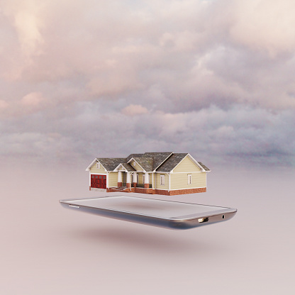 Internet of Things「Mobile phone miniature worlds: house floating over smart phone screen」:スマホ壁紙(10)