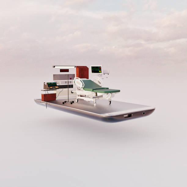 Mobile phone miniature worlds: hospital room on a smart phone screen:スマホ壁紙(壁紙.com)