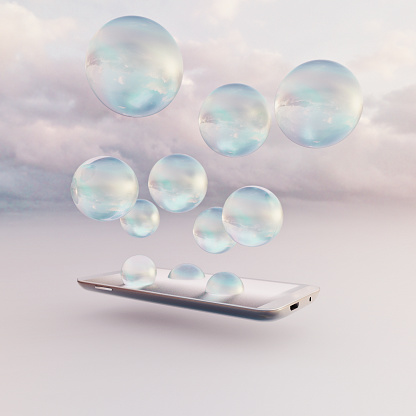 Cloud Computing「Mobile phone miniature worlds: bubbles emerge from screen of smart phone, growing and expanding into the cloud」:スマホ壁紙(19)