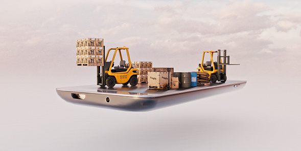 Cloud Computing「Mobile phone miniature worlds: warehouse storage with forklift trucks, boxes, crates and drums」:スマホ壁紙(14)