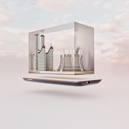 www「Mobile phone miniature worlds: futuristic city inside glass block floating over screen of smart phone」:スマホ壁紙(14)