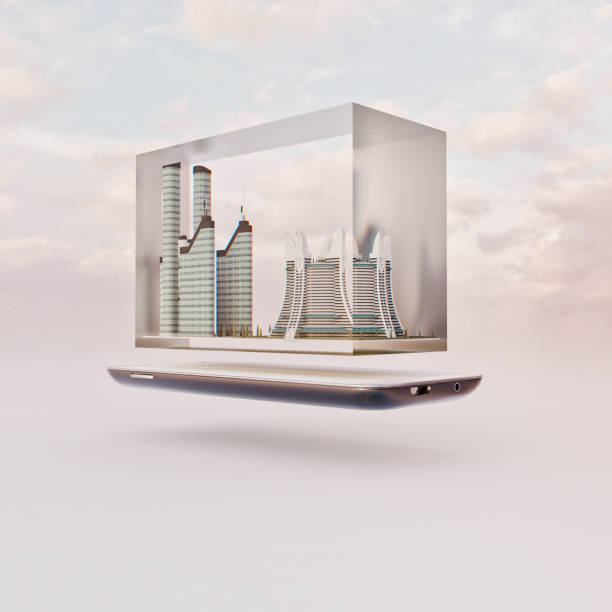 Mobile phone miniature worlds: futuristic city inside glass block floating over screen of smart phone:スマホ壁紙(壁紙.com)