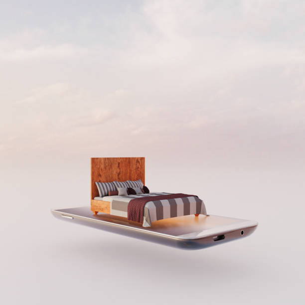 Mobile phone miniature worlds: bed on smart phone screen, virtual sleep app:スマホ壁紙(壁紙.com)