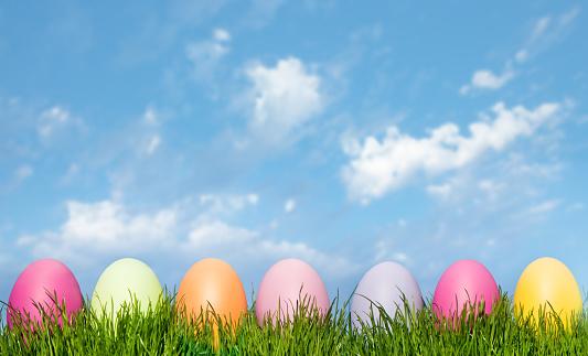 イースター「イースター卵の緑の芝生に、ブルースカイ」:スマホ壁紙(8)