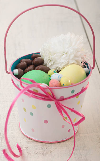 Easter eggs and chocolate in a pot:スマホ壁紙(壁紙.com)