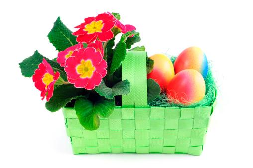 イースター「イースター卵 pinkt サクラソウの花、プリムラ緑のバスケット」:スマホ壁紙(19)