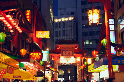 京都の夜「China town at night, Kobe city, Hyogo Prefecture, Japan」:スマホ壁紙(10)