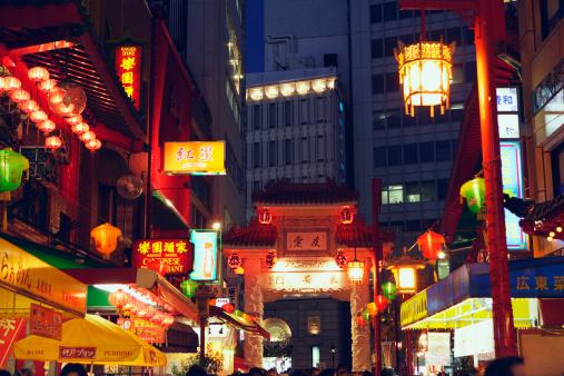 京都の夜「China town at night, Kobe city, Hyogo Prefecture, Japan」:スマホ壁紙(1)
