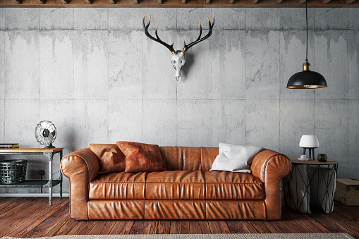 Template「Loft Interior with Leather Sofa and Skull」:スマホ壁紙(7)