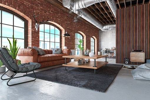 Template「Loft Interior with Leather Sofa and Furnitures」:スマホ壁紙(5)