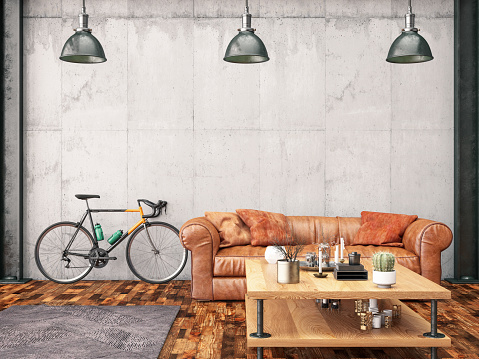 Illustration「Loft Interior with Leather Sofa and Bicycle」:スマホ壁紙(3)