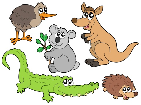 ハリネズミ「Australian animals collection - isolated illustration.」:スマホ壁紙(1)