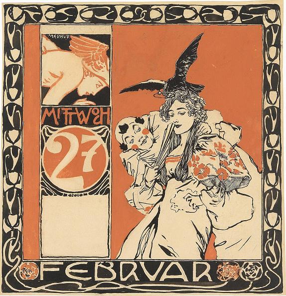 Art Nouveau「Calendar Sheet: Wednesday 27Th February Creator: Moser」:写真・画像(6)[壁紙.com]