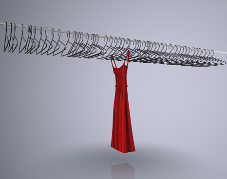 デジタル合成「Red dress hanging on rail with empty coat hangers (Digital Composite)」:スマホ壁紙(18)