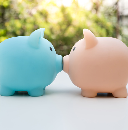 Economy「Piggy Bank Couple kissing profile view Close up」:スマホ壁紙(2)