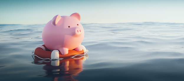 Insurance「Piggy Bank On Lifebuoy, 3d Render」:スマホ壁紙(7)