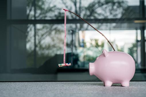 Wages「Piggy bank With a Money Carrot stick」:スマホ壁紙(14)