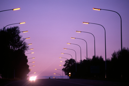 Sunset「Highway with rows of street lights along sides, sunset」:スマホ壁紙(8)