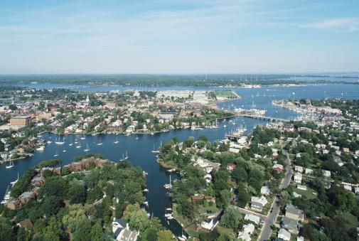 Chesapeake Bay「USA, Maryland, downtown Annapolis and Chesapeake Bay, aerial view」:スマホ壁紙(13)