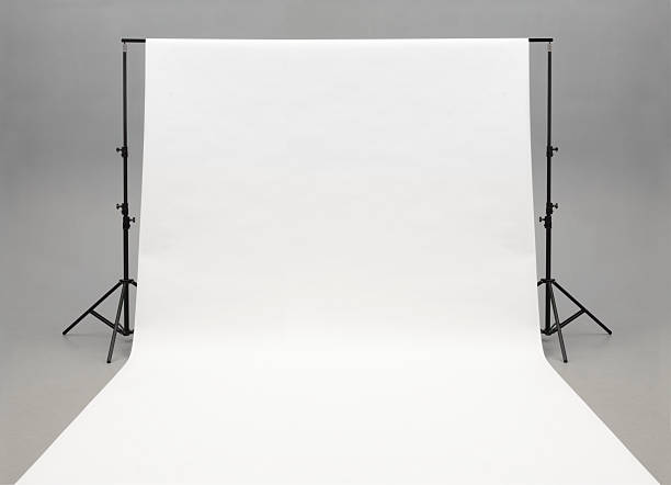 Seamless white background paper hanging on stands-isolated on grey:スマホ壁紙(壁紙.com)