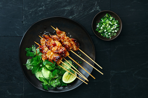 Teriyaki「Japanese chicken yakitori skewers」:スマホ壁紙(2)