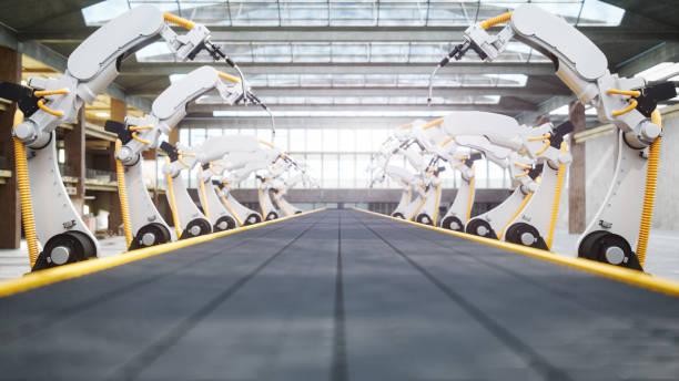 Welding Robots And Conveyor Belt In Automated Factory:スマホ壁紙(壁紙.com)