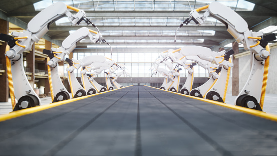 Automobile Industry「Welding Robots And Conveyor Belt In Automated Factory」:スマホ壁紙(0)