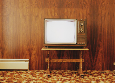 Wood Paneling「Vintage television on stand, against wood panel wall」:スマホ壁紙(1)