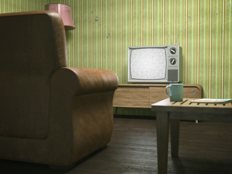 Watching TV「Vintage Television in Retro Living Room」:スマホ壁紙(0)