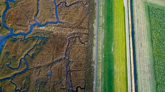 Netherlands「Dyke, salt marsh and coastline - aerial view」:スマホ壁紙(15)