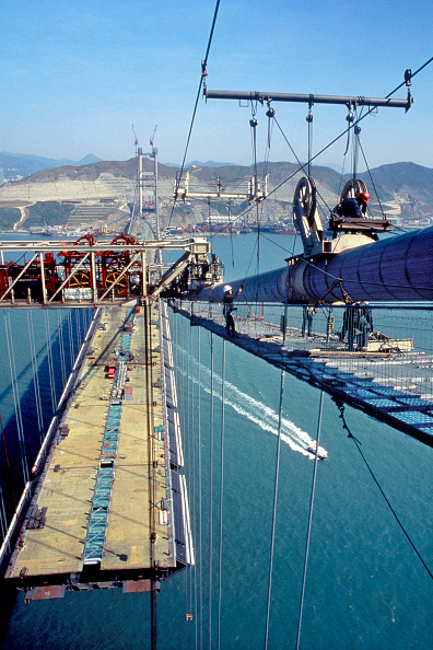 Balance「Tsing Ma suspension bridge. China. Constructed to link Hong Kong with Chek Lap Kok airport.」:写真・画像(18)[壁紙.com]