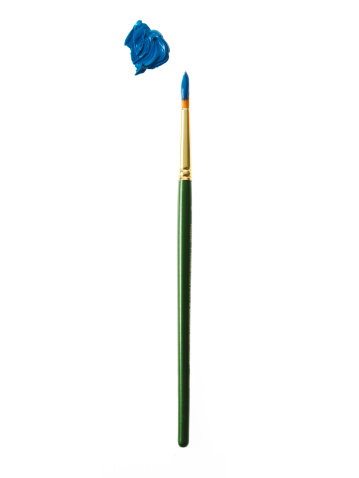 Art And Craft「Green paintbrush with blue paint on white background」:スマホ壁紙(18)