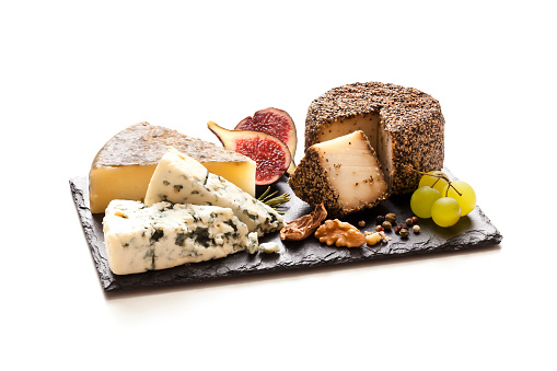 Snack「Cheeses board on white background」:スマホ壁紙(16)