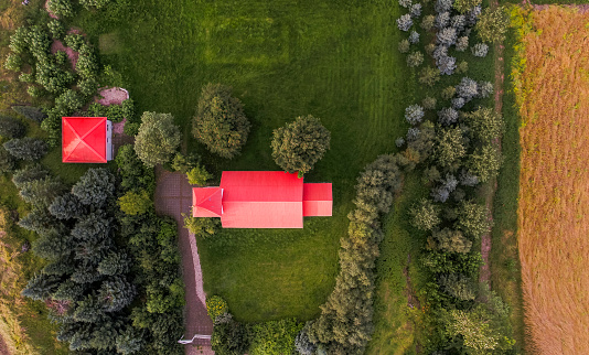Farmhouse「Top view Red Roofs, Countryside」:スマホ壁紙(6)