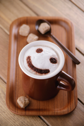 Anthropomorphic Smiley Face「A cup of cappuccino with smiley face」:スマホ壁紙(11)