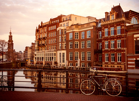 North Holland「Bicycle parked on a bridge in Amsterdam」:スマホ壁紙(19)
