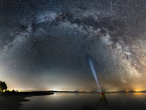 star sky「One man on Jetty enjoy Milky Way at Lake Chiemsee」:スマホ壁紙(3)