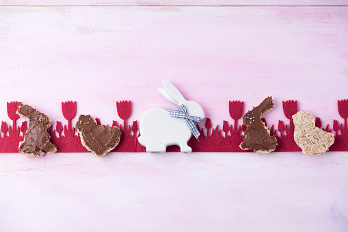 Easter Bunny「Toast cut out with Easter cutters spread with chocolate cream」:スマホ壁紙(1)