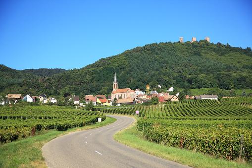 Winding Road「Wine-grower village along Wine Route, Husseren-les-Chateaux, Alsace, France」:スマホ壁紙(19)