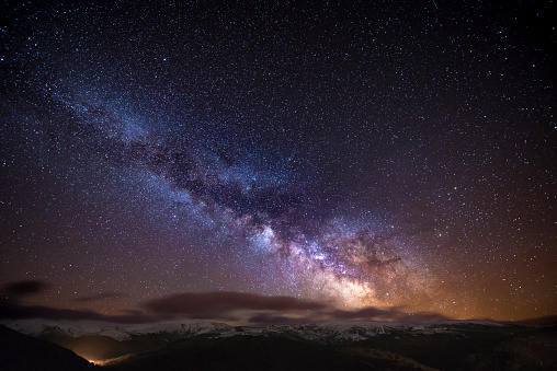 星空「Spain, Ourense, night shot with stars and milky way in winter」:スマホ壁紙(10)