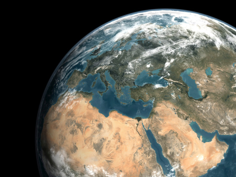 Mediterranean Sea「Global view of earth over Europe, Middle East, and northern Africa.」:スマホ壁紙(1)
