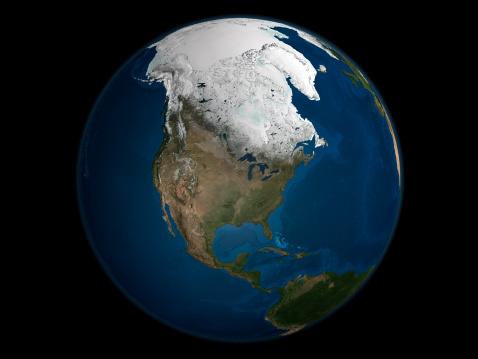 気候「A global view over North America showing Arctic sea ice.」:スマホ壁紙(12)