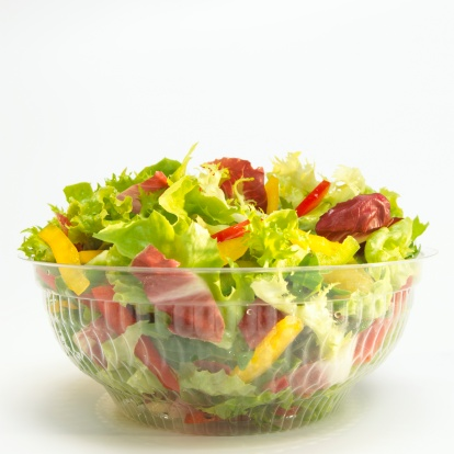 Salad「Mixed salad in plastic bowl, close-up」:スマホ壁紙(13)