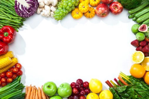 野菜・フルーツ「各種のフルーツと野菜を処分してフレーム形」:スマホ壁紙(13)