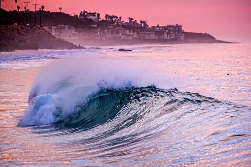 Malibu「Sea wave at sunset, Malibu, California, USA」:スマホ壁紙(5)