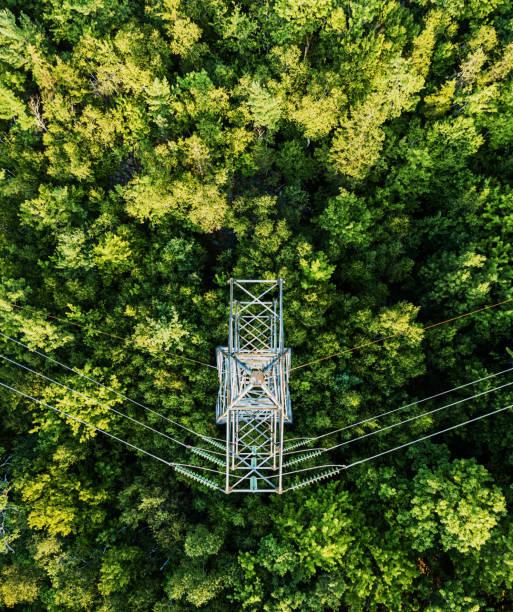 Aerial Drone View: Power Pylon:スマホ壁紙(壁紙.com)