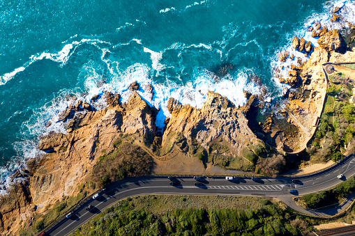 HD Format「Aerial Drone view of coastal road in Tuscany, Italy」:スマホ壁紙(7)