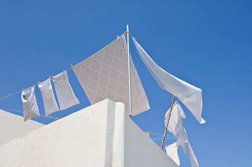 Washing「Italy, Sicily, Eolian Archipelago, Panarea, laundry drying on wind」:スマホ壁紙(6)